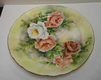 Large hand painted bone china plate with rose design