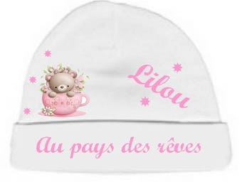 Baby Hat white with the land of dreams, personalized with name