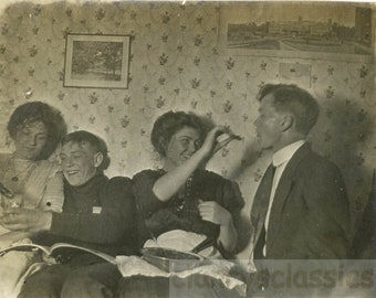 vintage photo 1912 Eat Drink & Be Merry Young People PArty