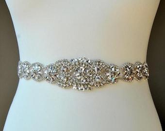 "17"" Bridal Sash Wedding Dress Sash Belt Rhinestone Sash Rhinestone Bridal Bridesmaid Sash Belt Wedding Long dress sash belt"