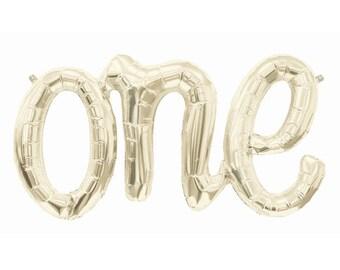 "30"" One Script Balloon, First Birthday Balloon, One Balloon Script Letter, One Balloon, 1st Birthday"