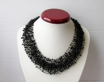 Black necklace air Beaded necklace jewelry Multistrand necklace 30th birthday gift idea Beads necklace Beadwork necklace Jewelry handmade
