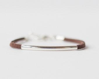 Brown Suede Bracelet, Leather Bracelet, Gift for Her, Faux Suede Bracelet, Hipster Bracelet, Boho Bracelet, Ladies minimalist Bracelet
