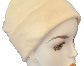 Ivory Cool Weather Rolled Cuffed Cancer Chemo Hat Soft Cotton Poly Blend Cap
