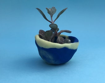 Polymer Clay Succulent Pot - Blue and Glow in the Dark