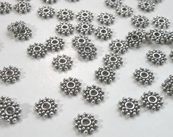 50 Beaded rondelle daisy snowflake spacer beads antique silver 8mm DB00817