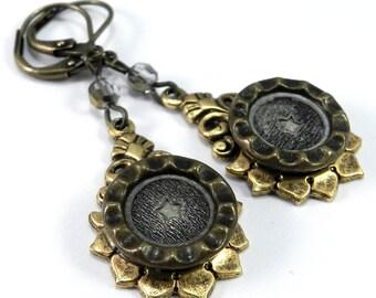Victorian Button Earrings, Silver and Gold Star, Antique Button Earrings, Edwardian Teardrop