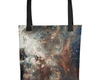 Galaxy Print Tote bag - REAL Hubble Space Telescope image - 30 Doradus Tote Tarantula Nebula, Magellanic Cloud Galaxy Tote bag