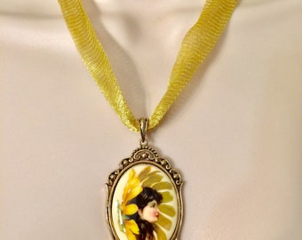 Sunflower Fairy Cameo Necklace