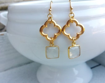 Clover Moonstone Earrings