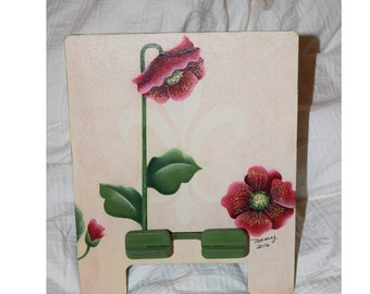 Tablet Charging Stand with Poppies - Chris Thornton design Handpainted with mixed media by Tammy Roberds