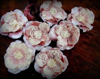Flower Appliques, Handmade, Sewing, Trim, Craft Supplies, Embellishments, Shabby Chic