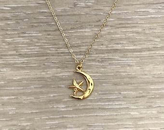 Crescent Moon & Star Necklace, Gold Necklace, Chain Necklace, Chain Choker
