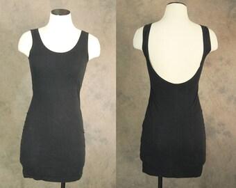 vintage 90s Bandage Dress - Black Body Con Dress 1990s Minimalist Club Kid Bodycon Tank Mini Dress Sz S