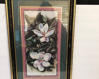 Homco Home Interiors White Magnolias Leaves 14.5 x 22.5 Hangs either way Orchid
