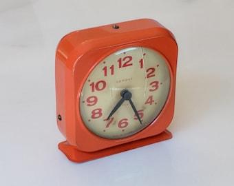 Retro Mid Century Mod Orange Desk Clock Alarm Clock by Westclox Campus