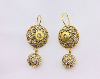 Handmade Antique Style Women Round Drop Earrings set in .925 Sterling Silver with 18 K Gold Micron Plating with Synthetic Stones
