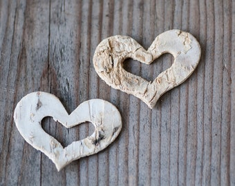 3.8cm Birch Bark Heart, Rustic Wedding, Woodland Wedding, Decorative Heart, Birch Hearts, Wedding Gift Favour Idea, Wedding Table Decor