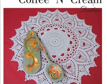 SWEETER COFFEE 'N' CREAM Doilies to Crochet by Patricia Kristoffersen; Nine textured thread designs; Pdf e-book; Farmhouse Decor; Fiber Art