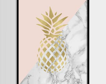 Ananas-Druck, modernen Druck, Mode Kunst, Chanel, rosa, Gold, Marmor, digitale Kunst, druckbare Kunst, digitale Instant Download 11 x 14, 8 x 10