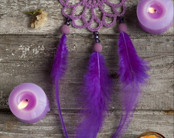Mini car dream catcher purple dreamcatcher crochet doily dream catcher purple feathers boho dreamcatchers for gift wrapping