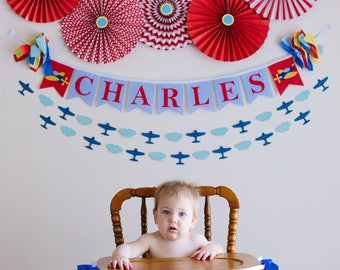 AIRPLANE BIRTHDAY BANNER personalized  / 1st birthday boy banner / Airplane nursery banner / Cake smash banner. Birthday banner personalized