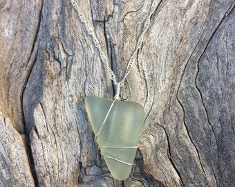 Pale seafoam green sea glass necklace