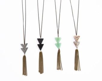 Triangle Tassel Necklace / Bohemian Fringe / Long Chain Fringe Tassel Triangle Necklace / Long Necklace Option / Triangle Stone Necklace