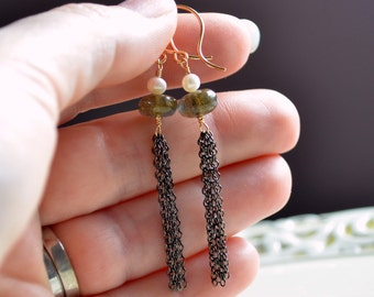 Labradorite Earrings, Long Tassels, Genuine Gemstone, Freshwater Pearl, Wire Wrapped Gold, Gunmetal Chain, Mixed Metal Jewelry