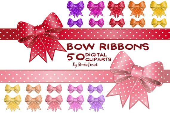 Bow ribbon cliparts gift ribbons in red pink and yellow polka bow ribbon cliparts gift ribbons in red pink and yellow polka dot bow digital elements for card design weddings c189 from studiodesset on etsy studio negle Image collections