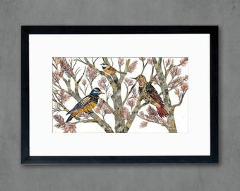 Northern Flicker and Chickadee Birds in Tree Art Print