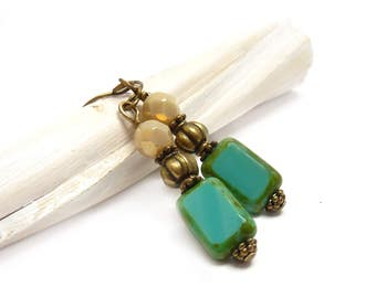 Turquoise & Ivory Creme Boho Earrings - Picasso Rectangle Czech Glass Beads - Antiqued Bronze - Turquoise Jewelry - Mother's Day Gift