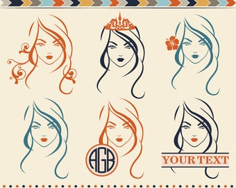 Woman Face Svg Cut Files Woman Long Hairs Svg Beauty Saloon Svg Monogram cut file Fashion clip art for Cricut, Silhouette cut Files Dxf Png