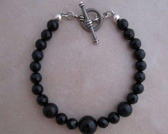 black onyx bracelet sterling silver