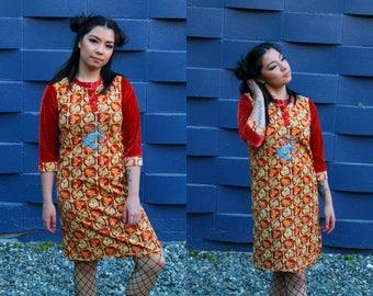 Vintage 70s Orange Velour  Psychedelic Print Shift Dress