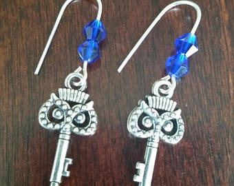Blue crystal earrings, Owl earrings, Key earrings, Silver earrings, Women's earrings, Gifts for her, Gifts under 20