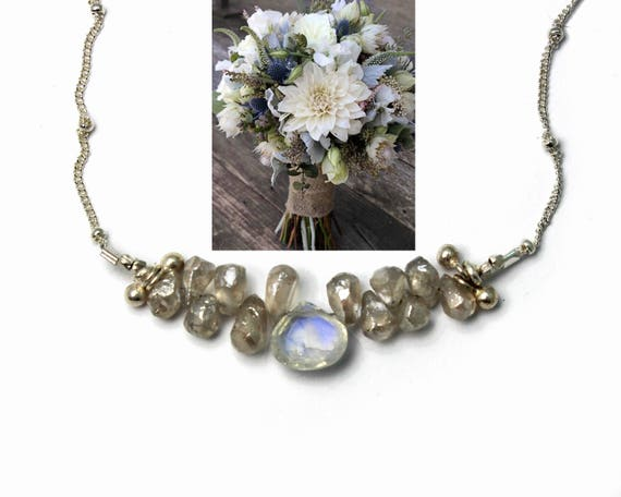 20% off. Rainbow Moonstone and Silverite Necklace. Bridesmaid Gift. Briolette Bar Necklaces.  Multi Gemstone Necklaces.  N2396