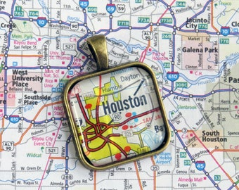 Houston, Texas Pendant Made with Vintage Road Map