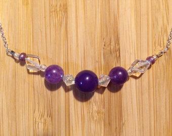 Amethyst & Quartz Necklace, February Birthstone