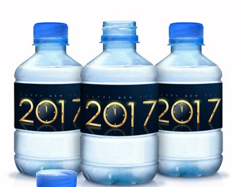 New Years Water Bottle Labels, 30 Personalized Bottle Labels, New Years Decor, New Years Party Party Decor, Waterproof Water Bottle Labels