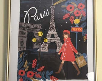 Paris Travel Print with Gold Frame 11x14
