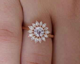 Flower engagement ring. Rose gold engagement ring 0.5ct  Light pink diamond ring 14k rose gold VS2 diamond ring by Eidelprecious