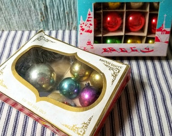 Lot of Vintage Small and Miniature Mercury Glass Ball Christmas Tree Ornaments, Wreath Crafting Supply, Retro Holiday