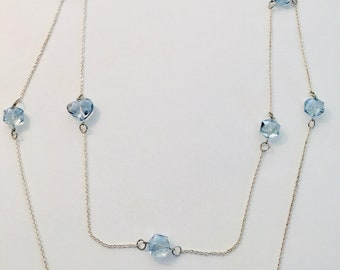 48 Inch Swarovski Crystal Necklace with Silver Chain