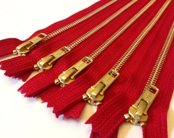 12 inch brass zippers, TEN pcs, red tape YKK color 519, metal zippers with gold teeth