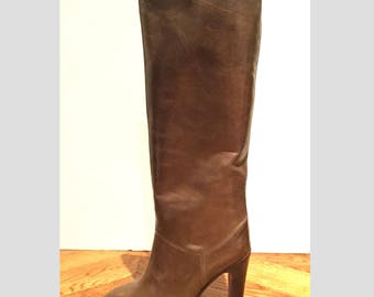 New /Bottes Leather Brown/tops/vintage 70's heels in /Made Italy/100% leather/size US 4 UK 2 35