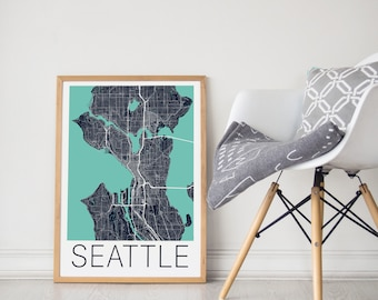 Seattle Map/Seattle Poster/ Seattle Print/Seattle Map Print/ Seattle Map Poster/Seattle Wall Art /City Map Print / Seattle Washington Map /