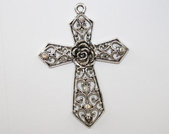 Cross Pendant, Large Cross Pendant,  Silver Cross, Rhinestone Cross, Cross With a Rose Flower In The Center 92x67mm - 1ct - #192