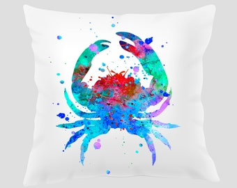 Watercolor Crab #1 Throw Pillow, Watercolor Crab Pillow, Pillow Cover, Accent Pillow, Nursery Decor, Kids Room Decor