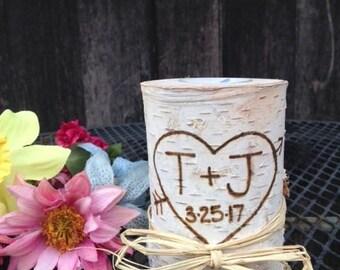 Birch Wood Candle, Rustic Wedding Candle, Birch Wedding Candle, Birch Wedding Centerpiece, Personalized Birch Candle, Birch, Wedding Gift